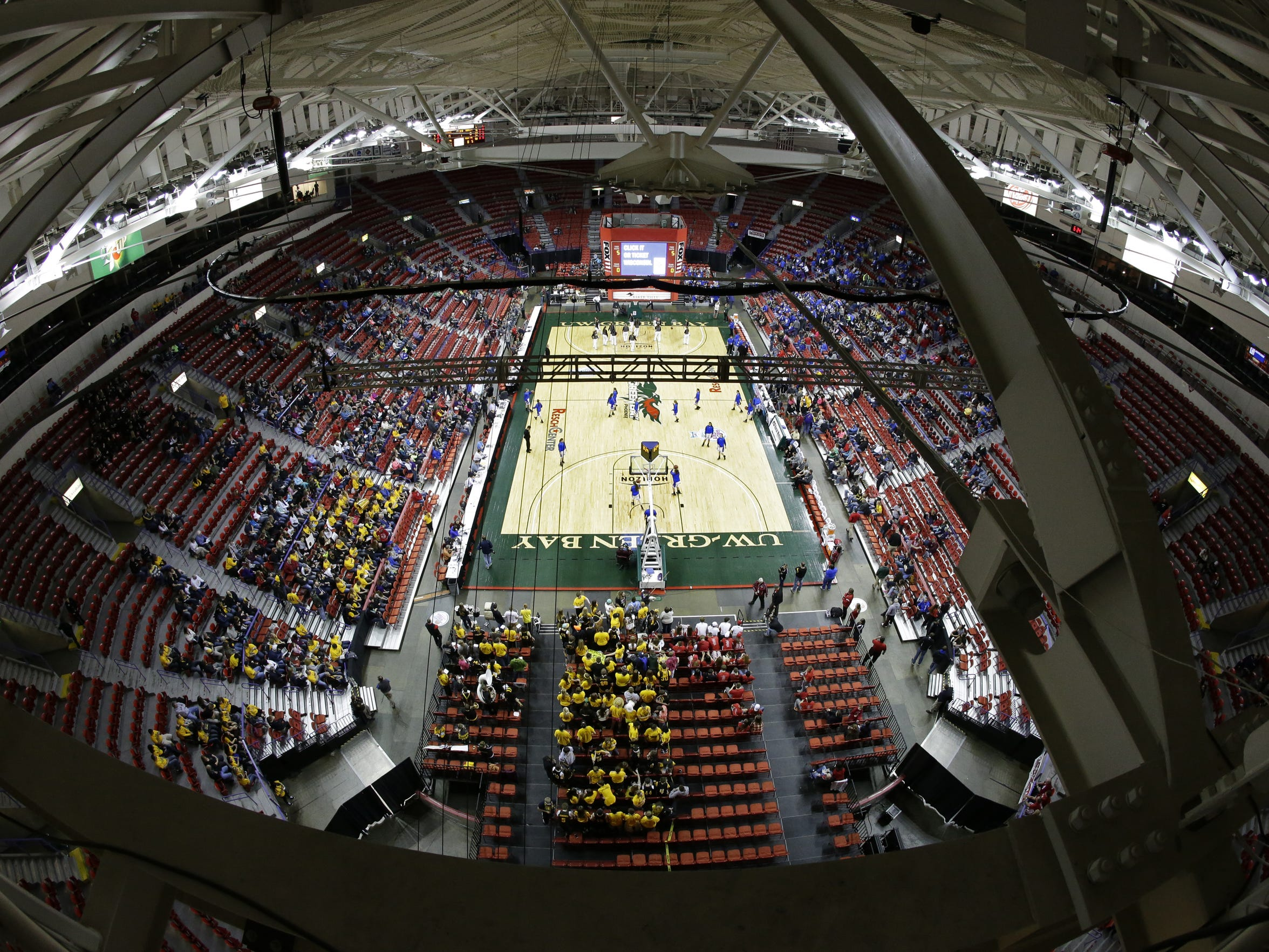 A view from the Resch Center rafters of the 2015 WIAA state girls basketball tournament in Ashwaubenon.