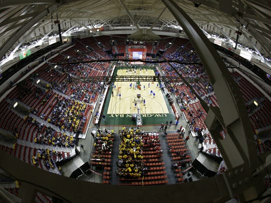 A view from the Resch Center rafters of the 2015 WIAA state girls basketball tournament in Ashwaubenon. A WIAA proposal up for vote Jan. 31 wouldmove 25 smallprivateschools and five smallpublic schools up one division in boys and girls basketball.