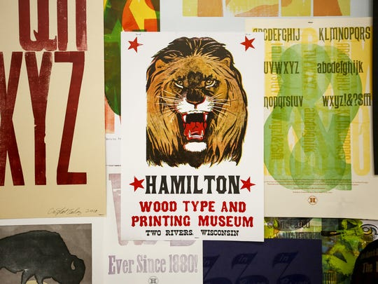A poster printed at Hamilton Wood Type and Printing Museum hangs on one of the makeshift walls in the museum in Two Rivers. Hamilton Wood Type and Printing Museum is a working museum where designers, printers and anyone interested in wood type or the printing process can learn and work.