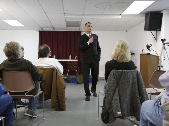 Mayoral candidate Barry Nelson gives his intro at the first mayoral forum Feb. 28 in Manitowoc.