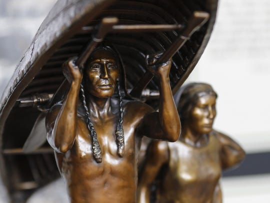 "A smaller bronzed version of the ""Spirit of the Rivers"" sculpture sits in R.T. Skip Wallen's studio Tuesday, March 14. The actual monument will stand 10 feet tall on the lakefront at the boundary between Two Rivers and Manitowoc."