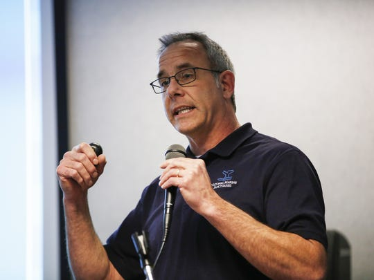 Russ Green, National Marine Sanctuaries regional coordinator, gives an update on the progress of the the proposed Lake Michigan National Marine Sanctuary Wednesday, March 14, in Manitowoc.
