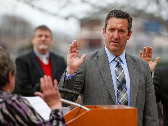 District 2 Alderman Scott McMeans is sworn-in to the
