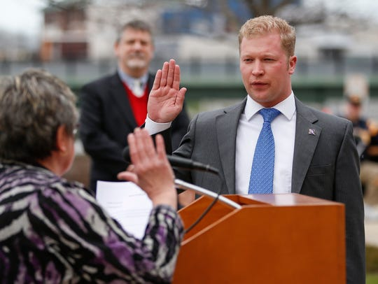Manitowoc Mayor Justin Nickels is sworn in Tuesday
