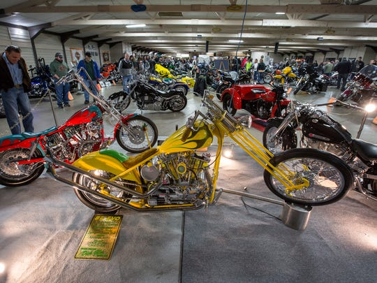 A 1982 Ironhead Hardtail Chopper sits on display at