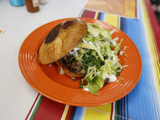 A steak torta with everything from Paradise Food.