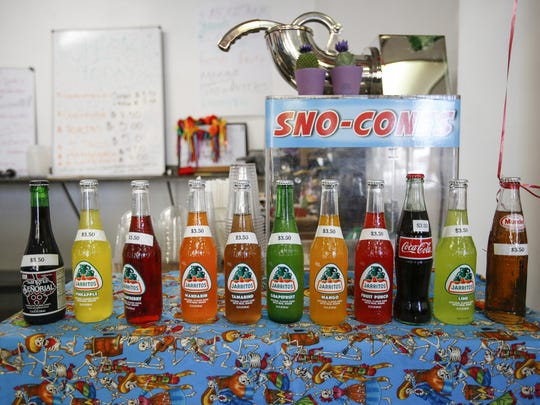 Popular Mexican soft drinks line the counter at Paradise Food in Manitowoc.