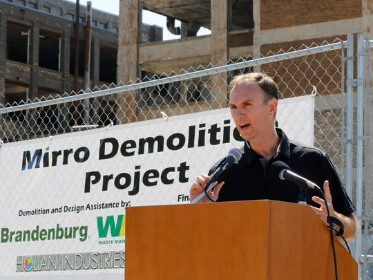Nic Sparacio, Manitowoc's Community Development director, speaks at the Mirro demolition ceremony June 9, 2017.