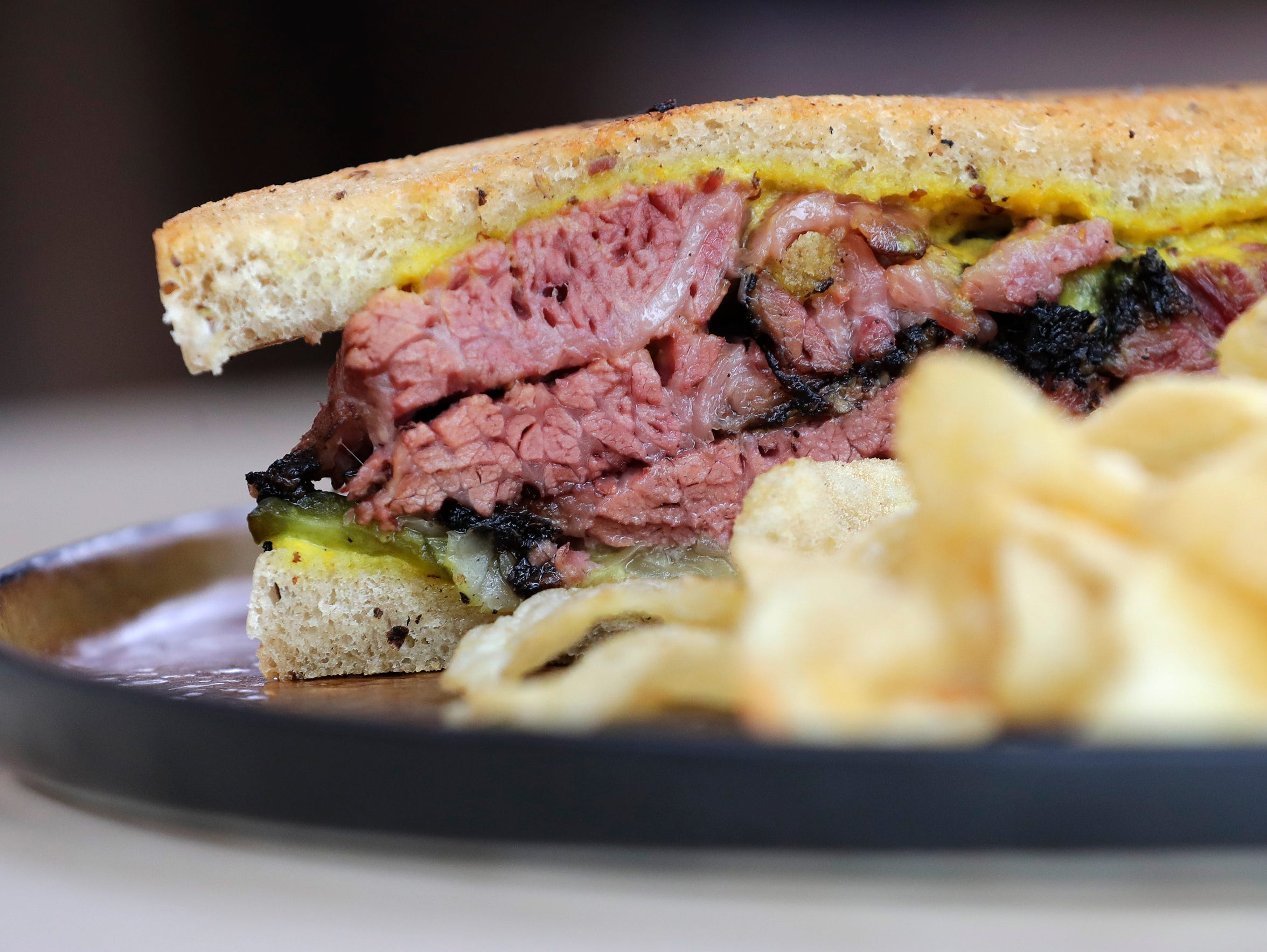 The pastrami sandwich is shown at Hinterland Brewing