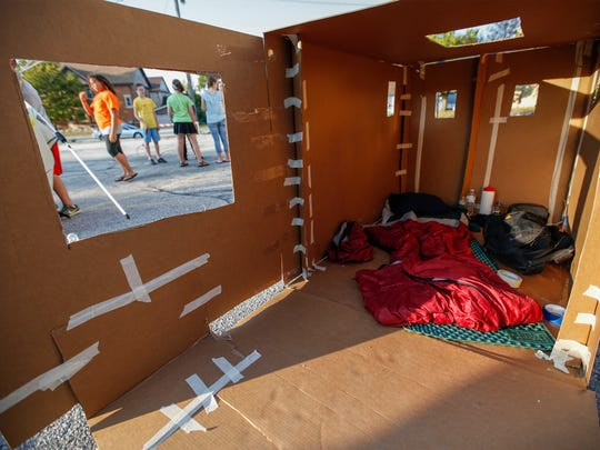 File - A temporary cardboard home created by participant Sam Jacobson, 15, Sept. 23, 2017, in Manitowoc.