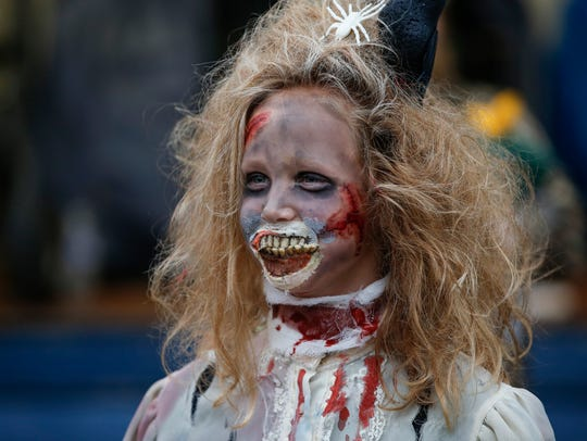 File - Klaire Laurent, 10, dressed as a zombie at Windigo