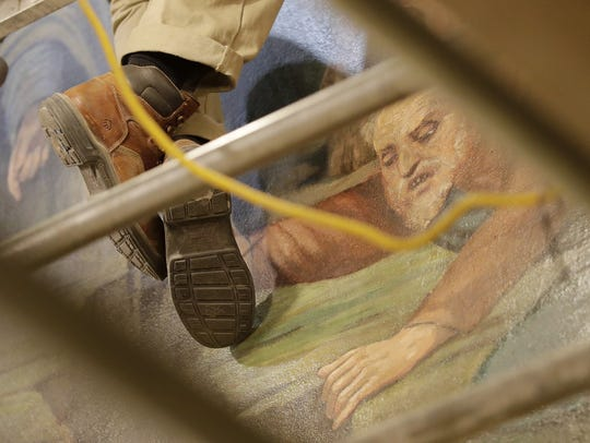 Restoration work is progressing on the paintings, murals and other details of St. Francis Xavier Cathedral  in Green Bay.