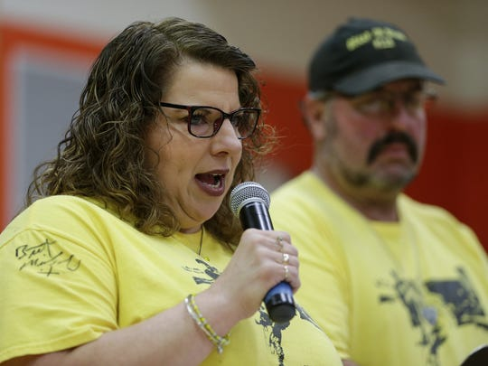 "Dillon's mother Angel Mueller speaks before the signing of ""Dillon's Law"" at Mishicot High School Monday, Dec. 11, 2017, in Mishicot, Wis. Josh Clark/USA TODAY NETWORK-Wisconsin"