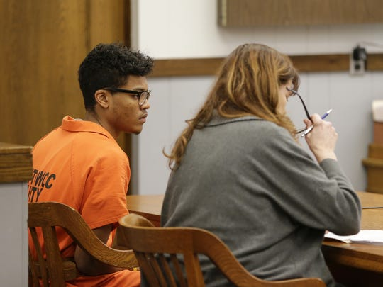 Matthew Brown-Edwards makes his initial court appearance before Judge Mark R. Rohrer at the Manitowoc County Courthouse Monday.