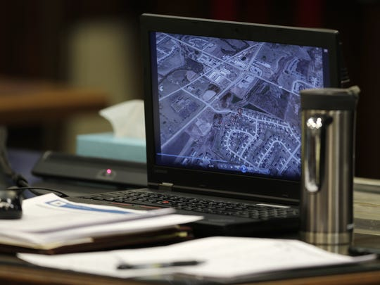 GPS coordinates obtained as evidence from George Burch's cellphone are displayed on a laptop in Brown County Circuit Court on Tuesday. Burch is on trial for the murder of Nicole VanderHeyden in May 2016.
