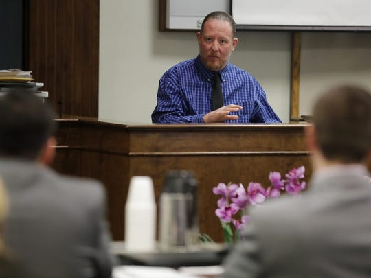 George Burch answers questions from the witness stand during his trial in Brown County Circuit for the murder of Nicole VanderHeyden in May of 2016.