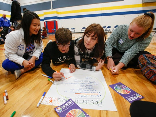 Students brainstorm ideas during an activity during the Sources of Strength training at the Boys and Girls Club of the Fox Valley Thursday, Nov. 9, 2017, in Appleton, Wis.