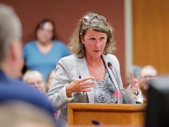 Brown County GOP chairwoman Marian Krumberger speaks in opposition to putting a question about the legality of marijuana on the Nov. ballot at a Brown County board meeting at city hall on Wednesday, July 18, 2018 in Green Bay, Wis. Members of the public spoke to the county board Wednesday as it weighed whether or not election ballots this fall will include non-binding questions about the legality of marijuana. 