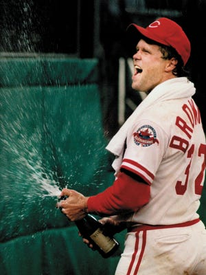 Reds pitcher Tom Browning celebrates his perfect game on Sept. 16, 1988, the first in the team's storied history.