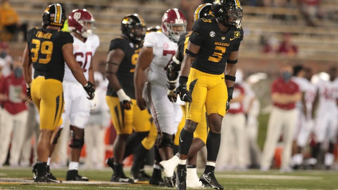 Missouri's Martez Manuel (3) reacts after a play during a game against Alabama on Saturday night at Faurot Field.