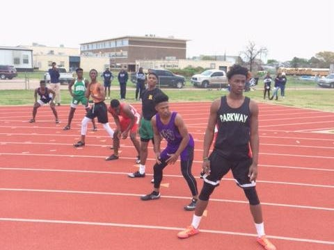 The anchor legs of the boys 400 meter relay watch and wait their turn the 2017 Bossier Bearkat Relays on Thursday.
