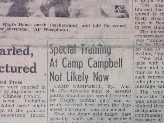 Story from the Aug. 16, 1945, edition of The Leaf-Chronicle.
