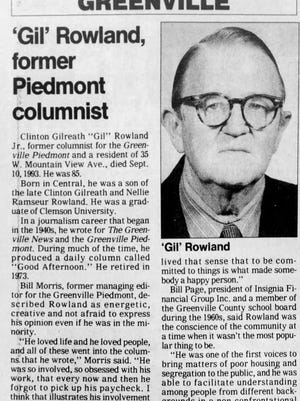 """The obituary for """"Gil"""" Rowland appeared in the Sept. 11, 1993, edition of The Greenville News. He died on Sept. 10, 1993."""
