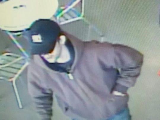Video surveillance captures man robbing Yo M.G! in Lancaster on April 12.