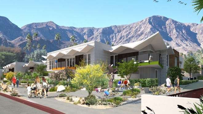 An architect's rendering of a development planned in Palm Springs on South Palm Canyon Drive.
