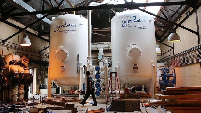 A carbon filtration system was installed in Portsmouth in 2016 to treat Pease well water for PFAS contamination.