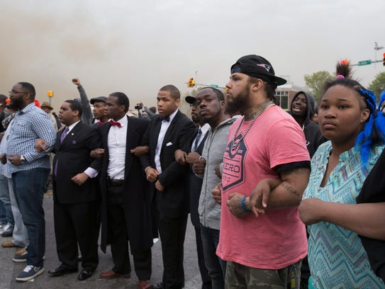 People protest the death of Freddie Gray.