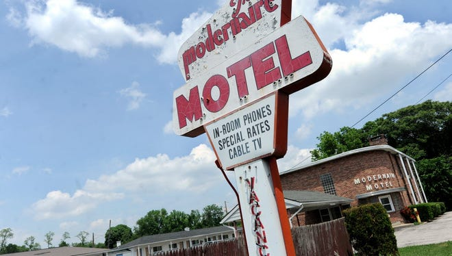 The Modernaire Hotel at East Market Street and Mount Zion Road would be razed to make way for a proposed shopping center.