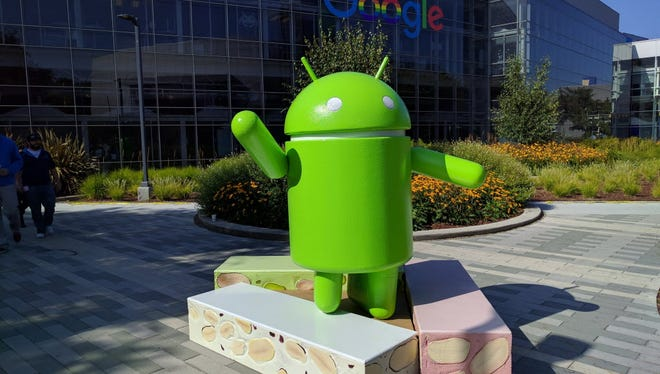 Android Nougat statue at Google campus in Mountain View, Calif.