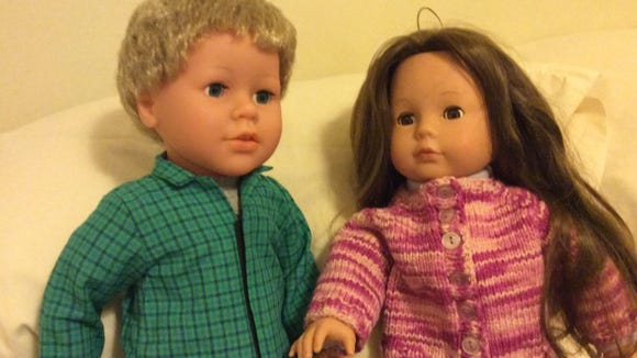 Joey is my new boy doll, from the LaurettaRose company in Montclair, NJ. He's shown here with Kimmy, my Pottery Barn doll.