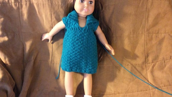 "This is the Walk in the Woods dress I made from ""Nicky Epstein Knits for Dolls."""