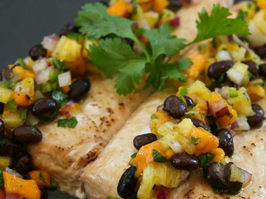 Grilled halibut with pineapple mango salsa