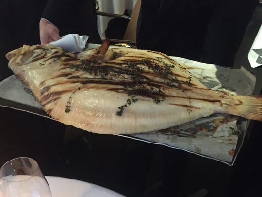 Grilled fish from southern Brittany at Arpège restaurant in Paris.