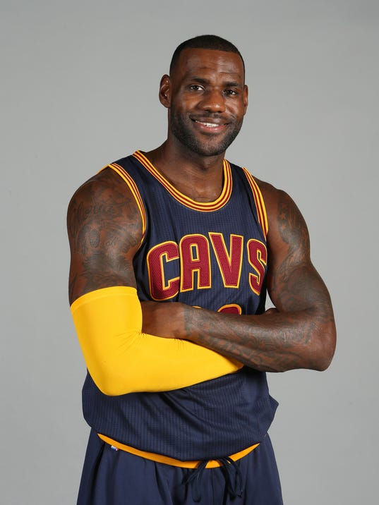 Cleveland Cavaliers star LeBron James poses during 2015 media day in ...