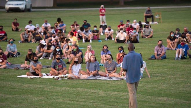 President Joe Manickam addresses students during an opening celebration at Sieber Soccer Field at Hesston College. The college is moving some activities outside in response to COVID-19, and announced a cluster this week.