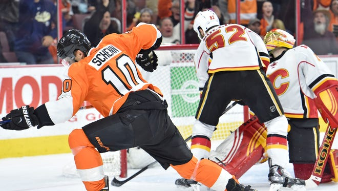 Brayden Schenn had nine shots en route to his first career hat trick in the Flyers' win.