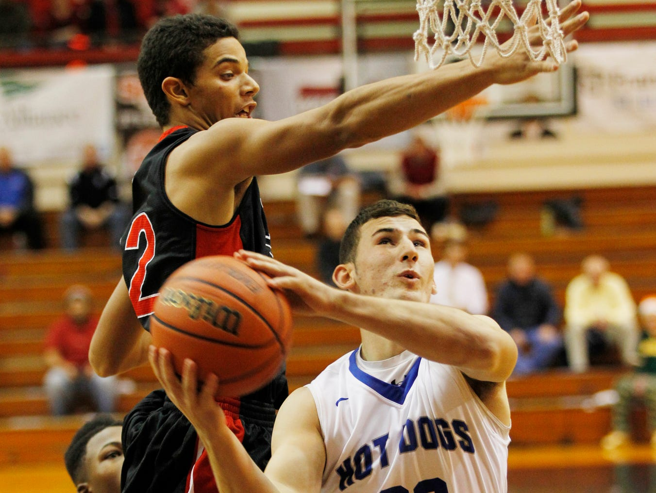 Frankfort's Jarrod Smith drives to the basket against Lafayette Jeff in the J&C Hoops Classic Monday, November 30, 2015, at Jefferson High School. Jeff held off Frankfort 71-66.