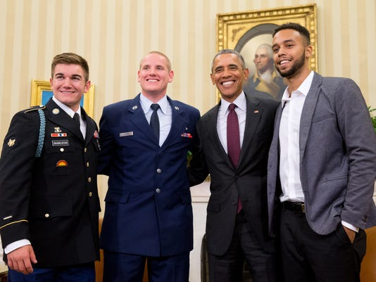 Barack Obama, Alek Skarlatos, Spencer Stone, Anthony Sadler