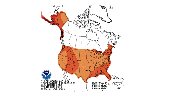 The entire USA -- including Alaska -- is forecast to see above-average temperatures over the next three months. Though not pictured, Hawaii is also predicted to be unusually warm.