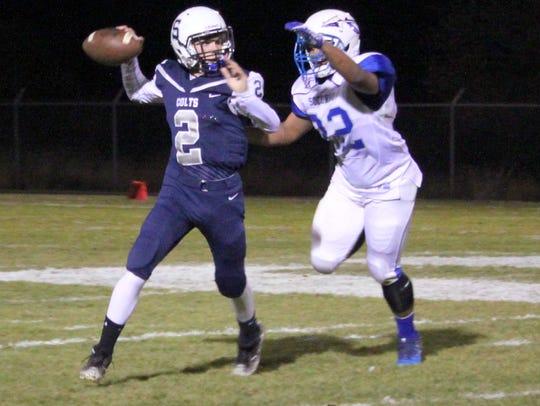 Freshman quarterback Walker Wenzel looks down field