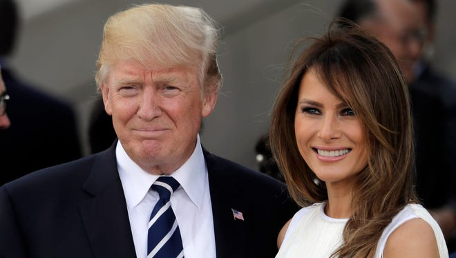 President Donald Trump and first lady Melania Trump before a concert on the first day of the G-20 summit in Hamburg, northern Germany, in July 2017.