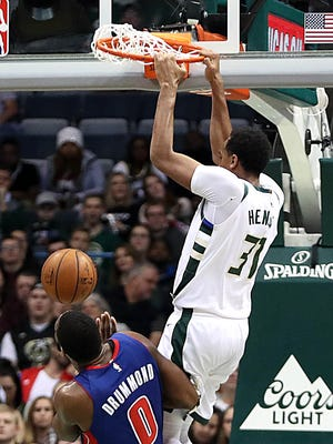 John Henson has  32 dunks this season and is on pace to eclipse his career-best of 65 from 2013-'14.