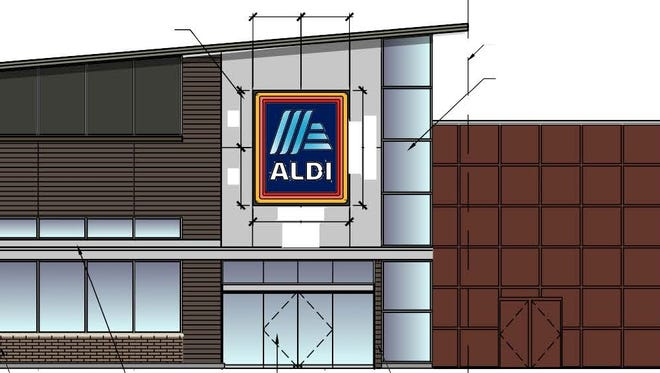 Rendering of a new Aldi, which will be connected to a Kohl's store in Waukesha.