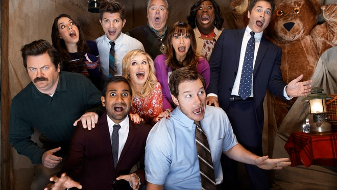 PARKS AND RECREATION -- Season: 5 -- Pictured:   Nick Offerman as Ron Swanson, left, Aubrey Plaza as April Ludgate, Aziz Ansari as Tom Haverford, Adam Scott as Ben Wyatt, Amy Poehler as Leslie Knope, Jim O'Heir as Jerry Gergich, Rashida Jones as Ann Perkins, Chris Pratt as Andy Dwyer, Retta as Donna Meagle, Rob Lowe as Chris Traeger .  HANDOUT Photo by Chris Haston, NBC ORG XMIT: Season: 5 [Via MerlinFTP Drop]