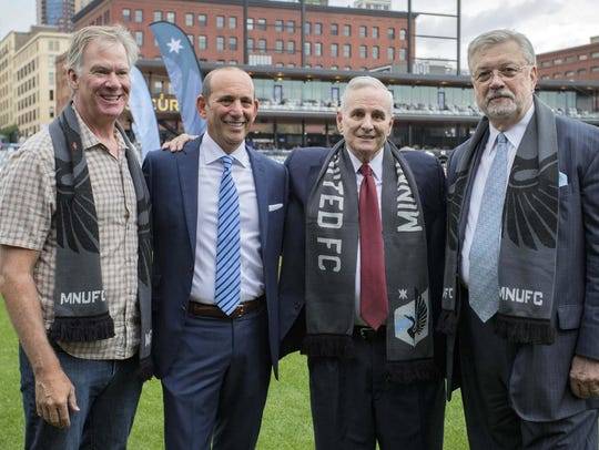 St. Paul Mayor Ron Coleman, MLS Commissioner Don Garber,