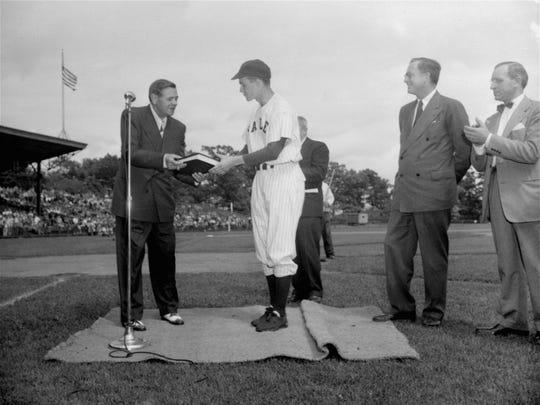 Yale captain and first baseman George H. W. Bush met Babe Ruth during the 1948 NCAA baseball championships.